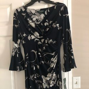 Ralph Lauren navy floral dress. New with tags.